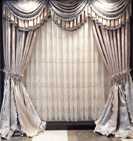 window curtains: Luxurious old-fashioned designer window curtains with flowers Stock Photo
