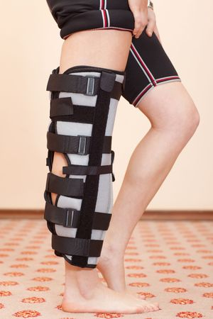 Support for leg or knee injury, side view Stock Photo