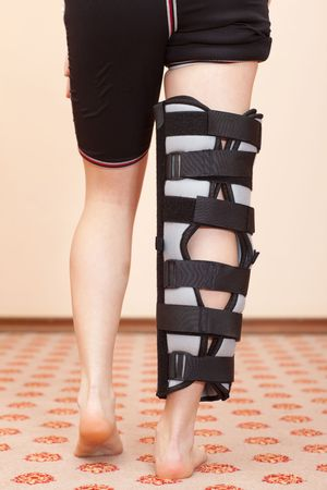 Support for leg or knee injury, rear view photo