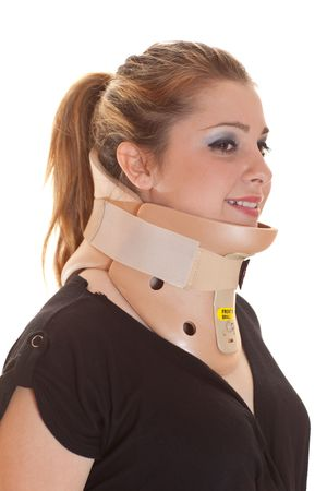 Blonde woman with decollete wearing adjustable neck protector, smiling