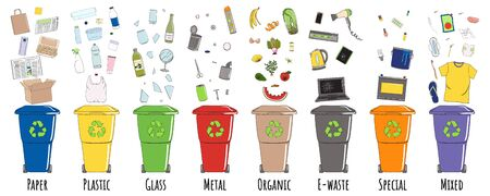 Set of garbage cans with sorted garbage. Recycle trash bins. Waste management. Sorting garbage. Organic, metal, plastic, paper, glass falls into bins. Hand drawn vector illustration.