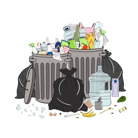 Still trash cans full of garbage and pile of garbage. Waste management. Garbage pollution. Overflowing rubbish, food, metal, plastic, paper, glass, mixed trash. Hand drawn vector illustration. Çizim