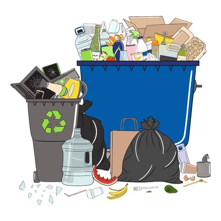 Trash cans full of garbage and pile of garbage. Waste management. Garbage pollution. Overflowing rubbish, food, metal, plastic, paper, glass, mixed trash. Recycling. Hand drawn vector illustration.