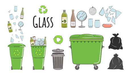Set of garbage cans with glass garbage. Recycle trash bins full of trash. Waste management. Sorting garbage falls into bins. Utilization concept. Hand drawn vector illustration.