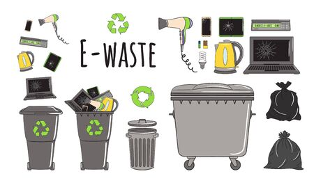 Set of garbage cans with e-waste garbage. Recycle trash bins full of trash. Waste management. Sorting garbage falls into bins. Utilization concept. Hand drawn vector illustration.