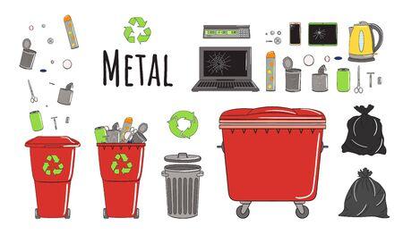 Set of garbage cans with metal garbage. Recycle trash bins full of trash. Waste management. Sorting garbage falls into bins. Utilization concept. Hand drawn vector illustration. Vektorgrafik