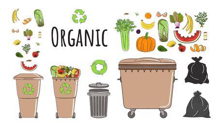 Ensemble de poubelles avec déchets organiques. Recyclez les poubelles pleines de déchets. La gestion des déchets. Le tri des ordures tombe dans les poubelles. Notion d'utilisation. Illustration vectorielle dessinés à la main.