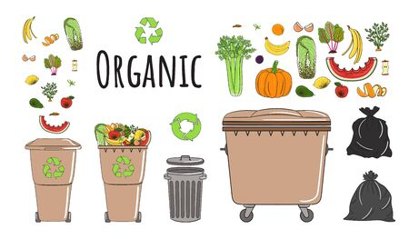 Set of garbage cans with organic garbage. Recycle trash bins full of trash. Waste management. Sorting garbage falls into bins. Utilization concept. Hand drawn vector illustration. Illustration