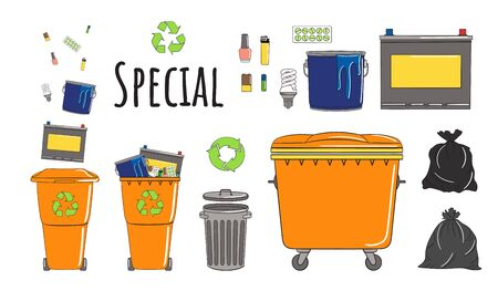 Set of garbage cans with special garbage. Recycle trash bins full of trash. Waste management. Sorting garbage falls into bins. Utilization concept. Hand drawn vector illustration.