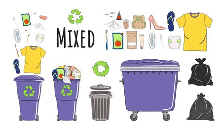 Set of garbage cans with mixed garbage. Trash bins full of rubbish. Waste management. Sorting garbage falls into bins. Non recyclable garbage. Hand drawn vector illustration. Illustration