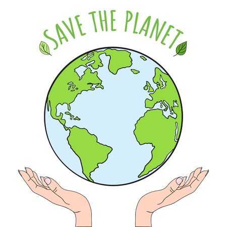 Hands holding planet Earth. Save the world, creative, environment pollution or World Earth Day concept. Stop climate change. Hand drawn vector illustration.