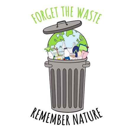 Planet Earth in trash bin with a lot of garbage. Forget the waste remember nature. 