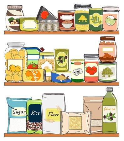 Set of canned food on shelf. Preserved food in cans, glass jars, metal containers, packs of cereals. Elements of kitchen storage. Hand drawn vector illustration. Isolated on white background.