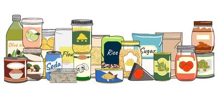Set of canned food. Preserved food in cans, glass jars, metal containers. Elements of kitchen storage. Hand drawn vector illustration. Isolated on white background.