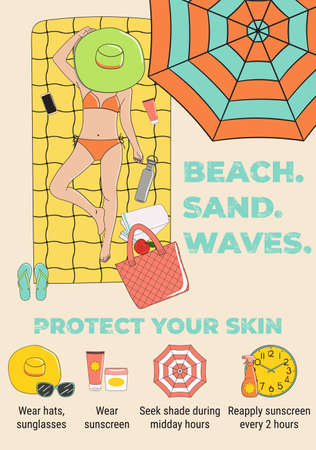 Sunbathing infographic. Skin protection and sun safety infographics. Sun and summer safety tips. The girl sunbathes on the beach. Summer time and vacation. Hand drawn vector illustration.
