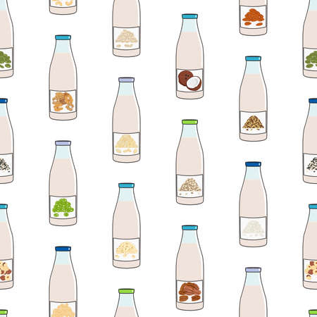 Seamless pattern of bottles with plant-based milk. Vegan milk in glass bottles. Almond, soy, rice, coconut, cashew, oat, flax, walnut, pea milk. Milk alternatives. Hand drawn vector illustration.