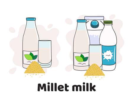 Templates with millet milk in glass, bottles and box. Vegan milk icons. Milk alternatives. Hand drawn vector illustration.