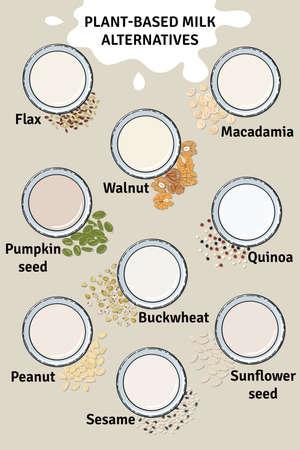 Template of glasses with plant-based milk. Vegan milk in glass. Top view. Macadamia, flax, walnut, pumpkin and sunflower seeds, sesame milk. Milk alternatives. Hand drawn vector illustration. Illustration