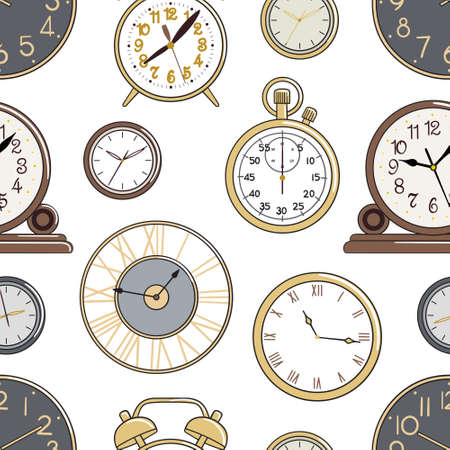 Seamless pattern of cartoon watches and alarm clock. Background for printing, fabric, textile, wallpaper and decor. Hand-drawn vector illustration.