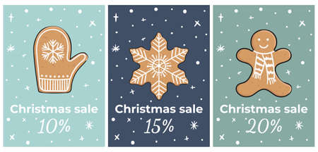 Christmas cards with gingerbread cookies. Gift for winter holidays. Gingerbread men, star, mitten. Hand-drawn vector illustration.