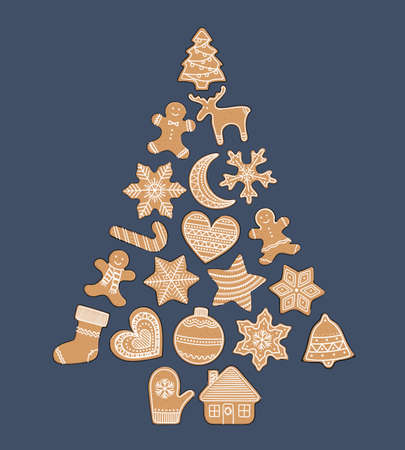 Composition of gingerbread cookies in a tree form. Christmas elements for winter holidays. Gingerbread man and woman, present, stars, bell, ball, house, heart. Hand-drawn vector illustration. 矢量图像