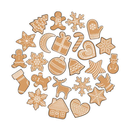Composition of gingerbread cookies in a circle. Christmas elements for winter holidays. Gingerbread man and woman, Christmas tree, present, stars, bell, house, heart. Hand-drawn vector illustration.