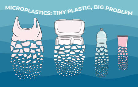 The disposable plastic breaks up into small pieces. Microplastics in water from mismanaged plastic waste. Marine and ocean plastic pollution. Environmental problems. Hand drawn vector illustration.