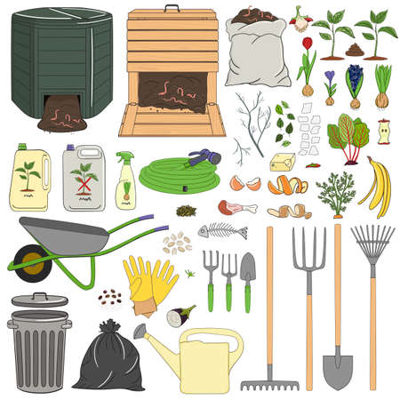Set of gardening equipment and tools, organic waste, wood and plastic composters. Farming and agriculture. Hand drawn vector illustration.