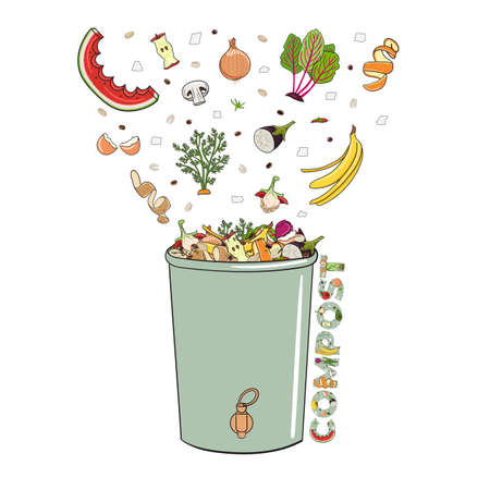 Composting bin with falling kitchen scraps, fruits and vegetables. No food wasted. Recycling organic waste, compost. Sustainable living, zero waste concept. Hand drawn vector illustration.