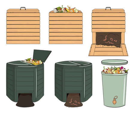 Set of garden wood and plastic composting bins. Garden fertilizer organic with worms. Recycling organic waste. Sustainable living concept. Hand drawn vector illustration.