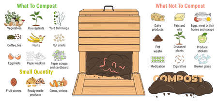 Infographic of garden composting bin with scraps. What to or not to compost. No food wasted. Recycling organic waste, compost. Sustainable living, zero waste concept. Hand drawn vector illustration. Vecteurs