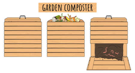 Set of garden wood composting bins. Garden fertilizer organic with worms. Recycling organic waste. Sustainable living concept. Hand drawn vector illustration.