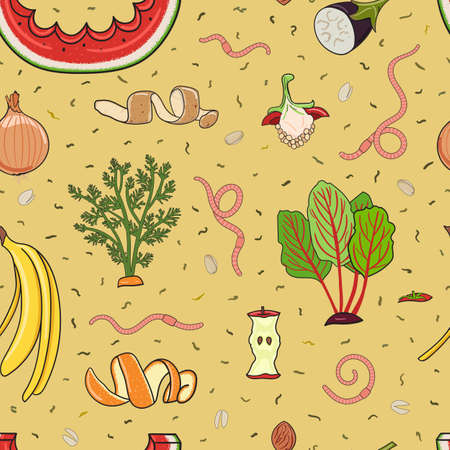 Seamless pattern with organic waste. Leftovers, spoiled products, kitchen scraps, fruit, vegetables. Farming and agriculture. Home composting and zero waste concept. Hand drawn vector illustration.
