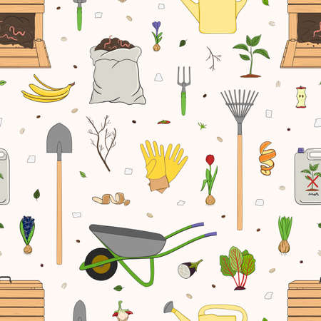 Seamless pattern with organic waste and garden tools. Kitchen scraps, composter, sack with compost. Farming and agriculture. Home composting and zero waste concept. Hand drawn vector illustration.