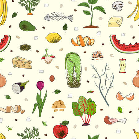 Seamless pattern with organic waste. Leftovers, spoiled products, kitchen scraps, fruit, vegetables. Farming and agriculture. Home composting and zero waste concept. Hand drawn vector illustration. 矢量图像