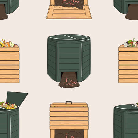 Seamless pattern with garden wood and plastic composters. Recycling organic waste. Farming and agriculture. Home composting and zero waste concept. Hand drawn vector illustration.