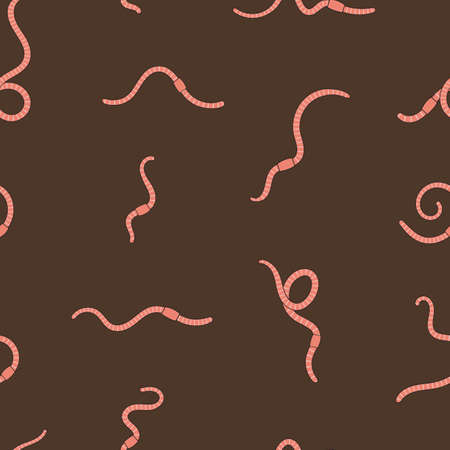 Seamless pattern with worms in soil. Pink earthworms in soil. Worms for vermicomposting. Farming and agriculture. Hand drawn vector illustration.