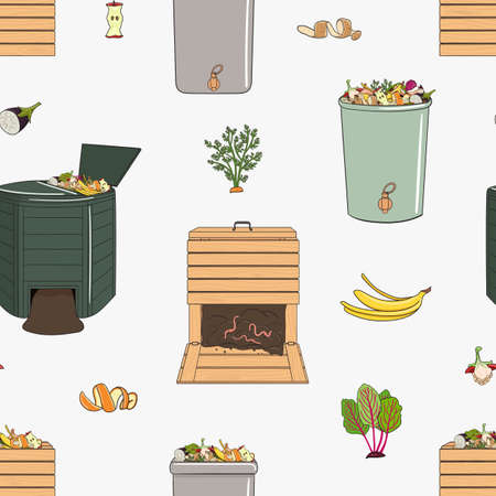 Seamless pattern with garden wood and plastic composters, kitchen scraps. Recycling organic waste. Farming and agriculture. Home composting and zero waste concept. Hand drawn vector illustration.