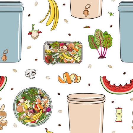 Seamless pattern with home composters, kitchen scraps. Recycling organic waste. Farming and agriculture. Home composting and zero waste concept. Hand drawn vector illustration.