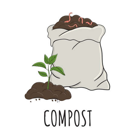 Garden organic fertilizer with sprout. Ready compost pile in sack with worms. Recycling organic waste. Sustainable living concept. Hand drawn vector illustration.