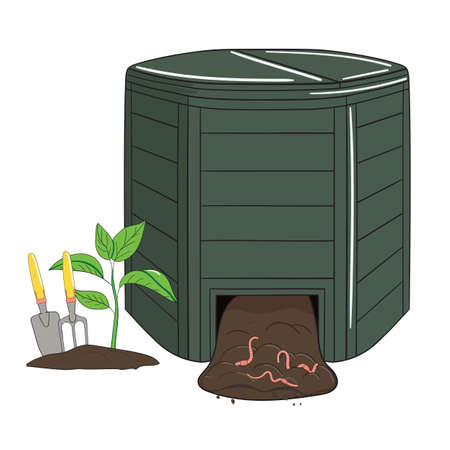 Garden plastic composting bin. Garden fertilizer organic with worms. Recycling organic waste. Sustainable living concept. Hand drawn vector illustration.