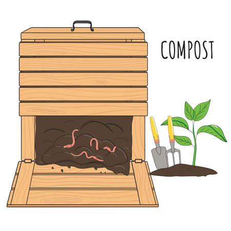 Garden wood composting bin. Garden fertilizer organic with worms. Recycling organic waste. Sustainable living concept. Hand drawn vector illustration.