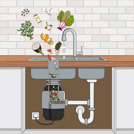 Food waste disposer installed under kitchen sink with scraps falling into it. Home garbage disposal. Kitchen interior. Recycling organic waste. Zero waste concept. Hand drawn vector illustration.