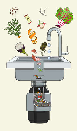 Food waste disposer for kitchen sink with kitchen scraps falling into it. Home garbage disposal. Recycling organic waste. Sustainable living, zero waste concept. Hand drawn vector illustration.