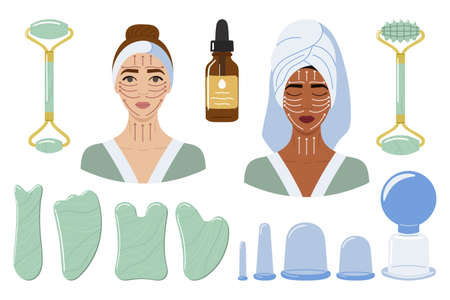 Big set of vacuum massage cups, gua sha stones and rollers are made of mint aventurine. Female black and white faces with massage lines. Beauty skin care routine. Hand drawn vector illustration.