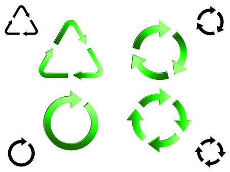 beginnings: Set of recycle icons.
