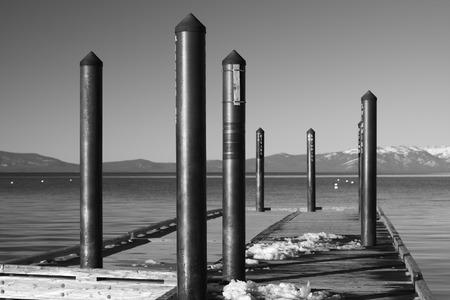 south lake tahoe: Snowy Tahoe Pier - BW, Camp Richardson, Lake Tahoe, California