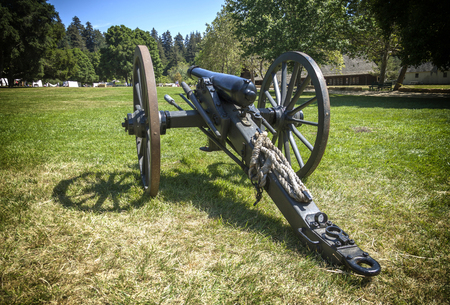 A canon displayed at a Civil War reenactment at Roaring Camp located in Felton. California.