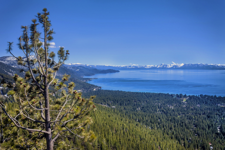 south lake tahoe: This scene is taken above Incline Village, Nevada looking to the South toward South Lake Tahoe, California on a winder day.