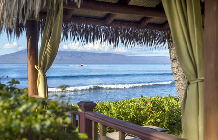 An inviting cabana on Kaanapali Beach on a sunny warm morning. Stock Photo